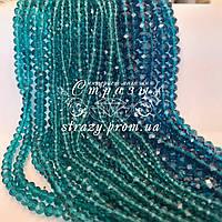 Ронделі на нитках, 4мм, колір Blue Zircon, скло, нитка ~130шт