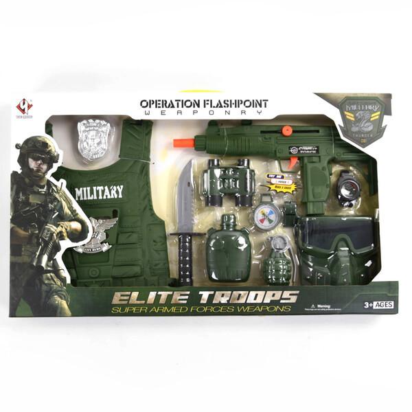 Военный набор с бронежилетом и автоматом детский с маской и биноклем для мальчиков (57361)