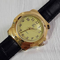 Часы мужские механические Luch Луч 903-127 золотистые с арабскими цифрами на ремешке Беларусь