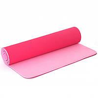 Двухслойный коврик для йоги и фитнеса TPE TC спортивный каремат для тренировок и для занятий спортом  