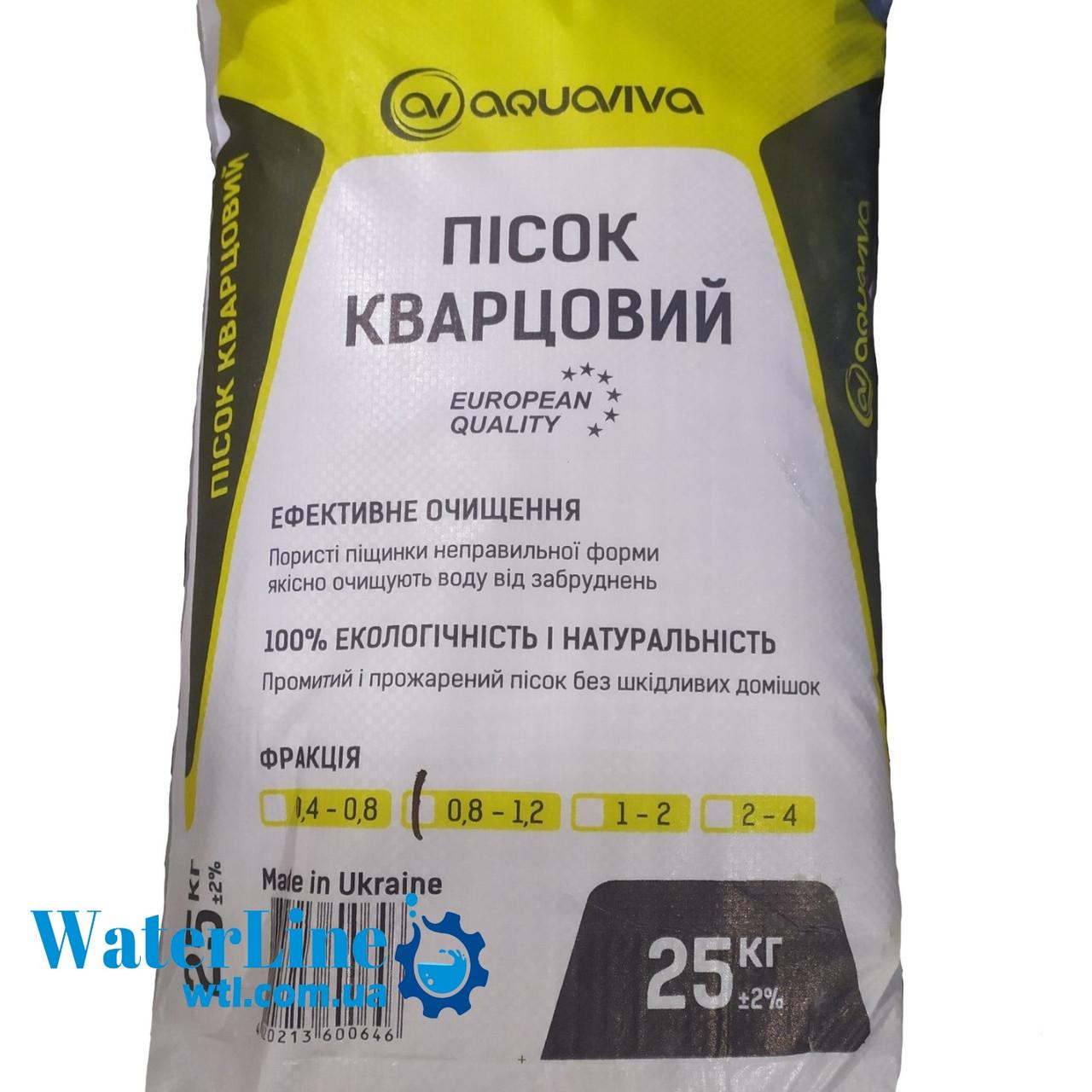 Кварцевый песок (25 кг) AquaViva для фильтрации бассейна. Фракция 0,8 - 1,2 мм