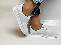 Турецкая обувь. Женские белые кеды-кроссовки из натуральной кожи. Размер 38 39