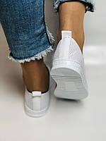 Турецкая обувь. Женские белые кеды-кроссовки из натуральной кожи. Размер  38 39, фото 3