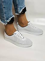 Турецкая обувь. Женские белые кеды-кроссовки из натуральной кожи. Размер  38 39, фото 2