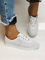 Турецкая обувь. Женские белые кеды-кроссовки из натуральной кожи. Размер  38 39, фото 5