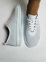 Турецкая обувь. Женские белые кеды-кроссовки из натуральной кожи. Размер  38 39, фото 8