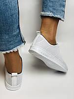 Турецкая обувь. Женские белые кеды-кроссовки из натуральной кожи. Размер  38 39, фото 6