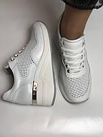 Evromoda. Женские кеды-кроссовки белые на платформе.Натуральная кожа.Турция. Размеры  40, фото 8