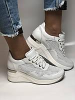 Evromoda. Женские кеды-кроссовки белые на платформе.Натуральная кожа.Турция. Размеры  40, фото 6