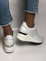 Evromoda. Женские кеды-кроссовки белые на платформе.Натуральная кожа.Турция. Размеры  40, фото 10