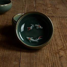 Чашка для чаепития селадон Лунцюань с рыбками
