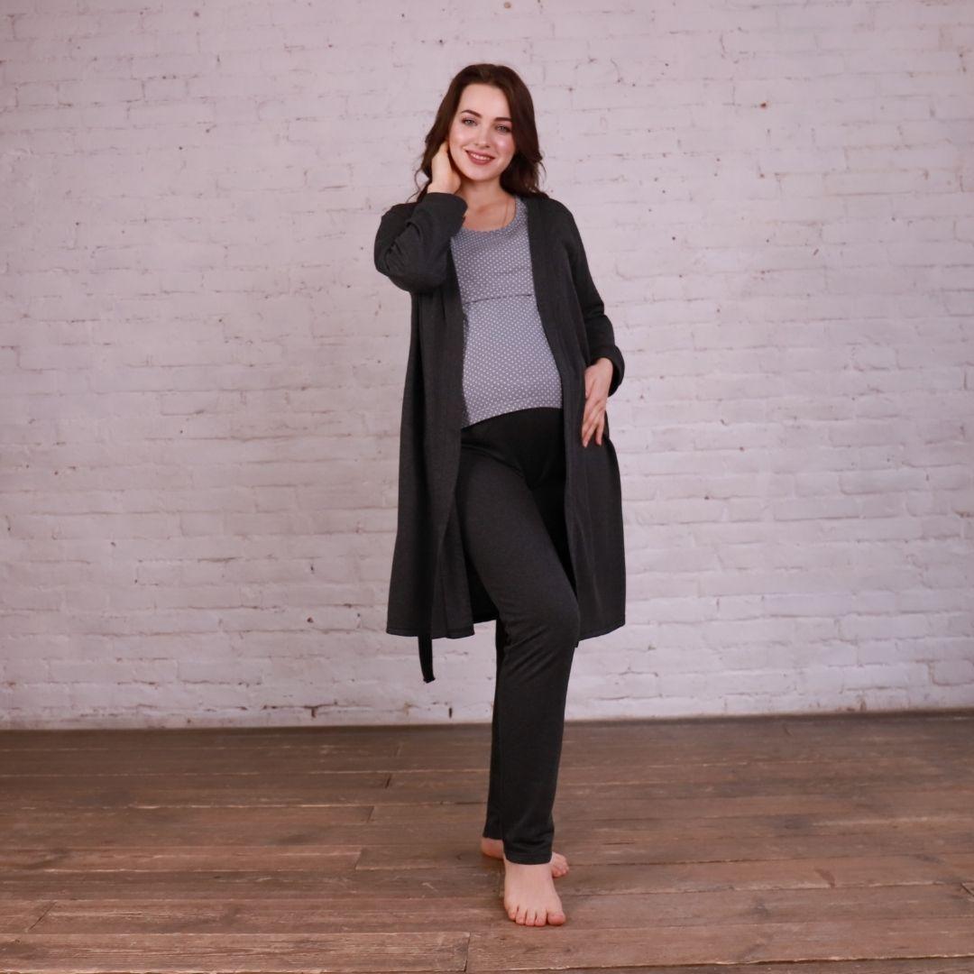 Комплект 3-ка халат и пижама (футболка и штаны) для беременных и кормящих мам
