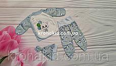 Костюмчик интерлок для новорожденных  (56 см, 62 см): ползунки, распашонка, шапочка, фото 3