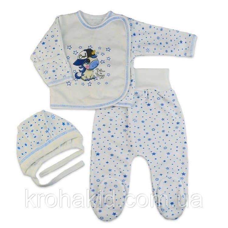 Костюмчик интерлок для новорожденных  (56 см, 62 см): ползунки, распашонка, шапочка