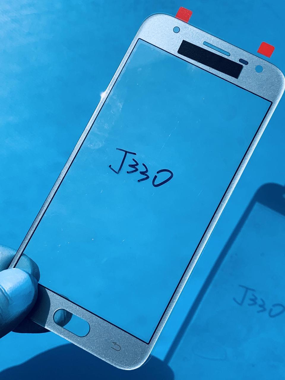 Стекло корпуса для Samsung J330 Galaxy J3 (2017) голубое(оригинал Китай)