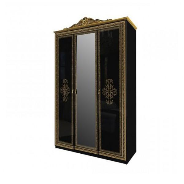 Шкаф распашной с зеркалом в спальню, в прихожую Дженифер 3Д JF-13-BL MiroMark черный