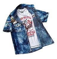 Джинсовая рубашка с футболкой для мальчика,Турция р.11/146, см.на замеры в ПОЛНОМ ОПИСАНИИ товара