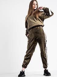 Спортивный женский костюм велюровый на флисе Lady Yep ХАКИ
