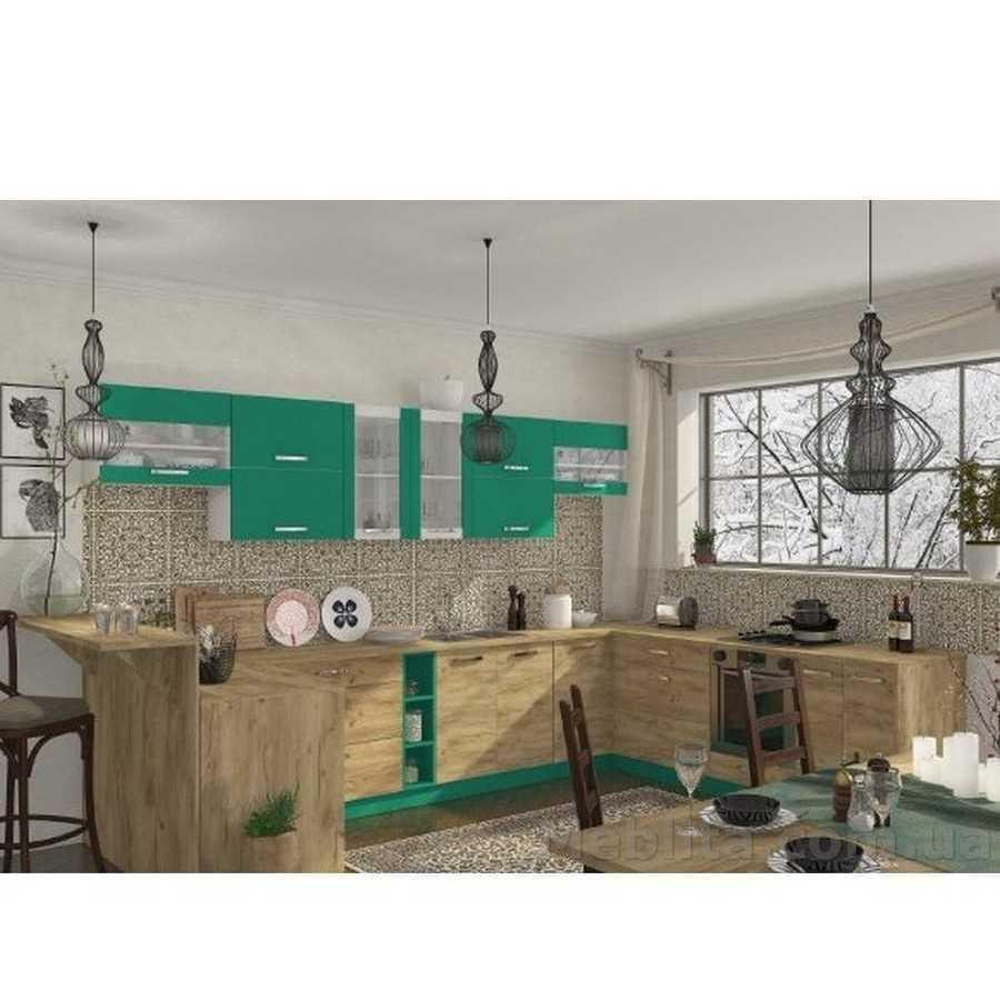 Кухня угловая «Шарлотта» | цвет: дуб крафт золотой/абсент Sokme