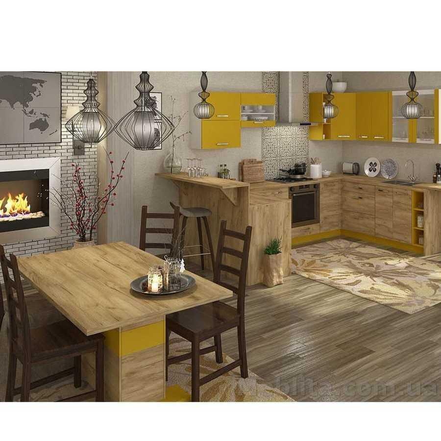 Кухня угловая «Шарлотта» | цвет: дуб крафт золотой/желтый Sokme
