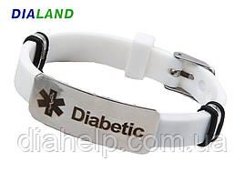 """Силиконовый браслет с металлической пластиной """"DIABETIC"""" белый, с эмблемой """"Звезда жизни"""""""