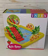 Детский надувной игровой центр, Intex Веселый фрукт, бассейн с горкой, от 2-х лет, 244*191*91 см, 57158