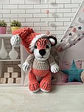 Мягкая вязаная плюшевая игрушка тигр тигрёнок ручной работы.