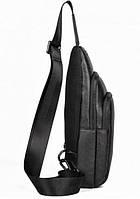 Мужской черный кожаный слинг на плече TIDING BAG A25F-011-1A черная, фото 4