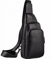 Мужской черный кожаный слинг на плече TIDING BAG A25F-011-1A черная, фото 5