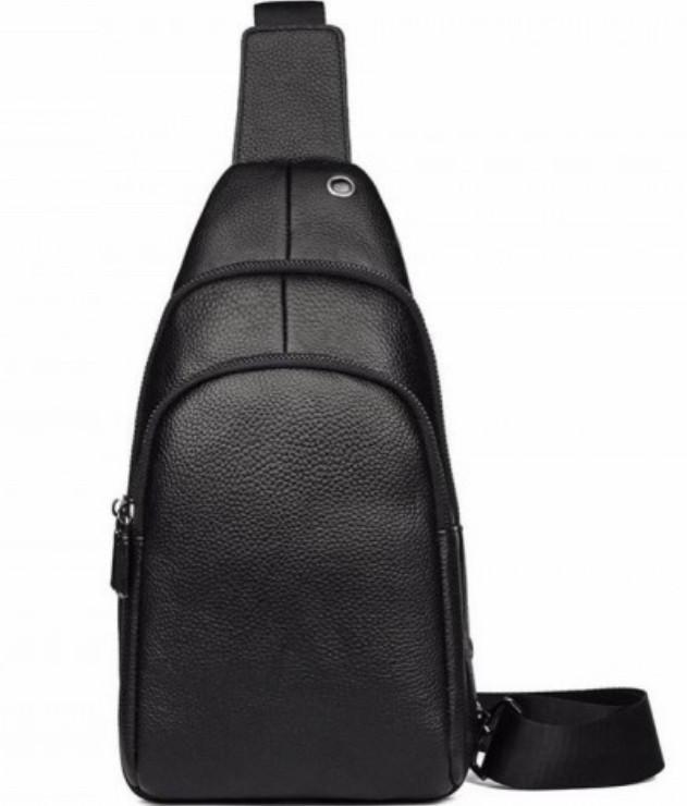 Мужской черный кожаный слинг на плече TIDING BAG A25F-011-1A черная