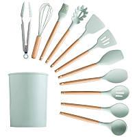 Силіконовий кухонний набір приладдя з відерцем для зберігання 12 предметів (дерево+силікон)  Зелений