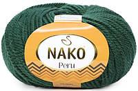 Пряжа Nako Peru 3601 изумрудный (нитки для вязания Нако Перу) 25% альпака, 25% шерсть, 50% акрил