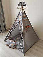"""Вигвам """"Лес"""" с пышным ковриком, двумя подушками, окошком и карманчиком"""
