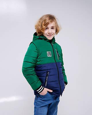 Джастин зеленая детская подростковая куртка демисезонная для мальчика