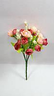 Розово рубиновый букет английской розы 22см искусственный куст для декорирования, фото 1
