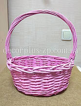 Корзина плетеная, розовая Диаметр ~32см