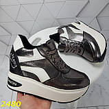 Кросівки снікерси на високій платформі з танкеткою графіт 38, 40, 41 р. (2480), фото 7