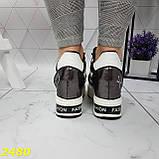 Кросівки снікерси на високій платформі з танкеткою графіт 38, 40, 41 р. (2480), фото 2