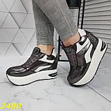 Кросівки снікерси на високій платформі з танкеткою графіт 38, 40, 41 р. (2480), фото 4