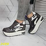 Кросівки снікерси на високій платформі з танкеткою графіт 38, 40, 41 р. (2480), фото 6