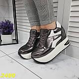 Кросівки снікерси на високій платформі з танкеткою графіт 38, 40, 41 р. (2480), фото 8