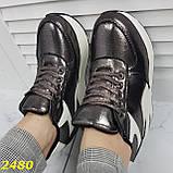 Кросівки снікерси на високій платформі з танкеткою графіт 38, 40, 41 р. (2480), фото 5