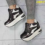 Кросівки снікерси на високій платформі з танкеткою графіт 38, 40, 41 р. (2480), фото 3