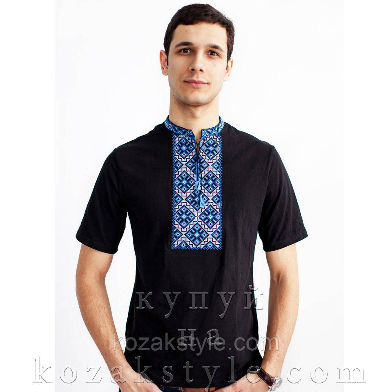 """Трикотажна вишиванка """"Козацька"""" чорна з синєю вишивкою"""