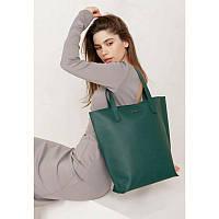 Шкіряна жіноча сумка шоппер D. D. зелена