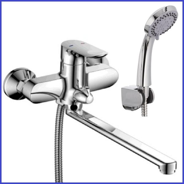 Смеситель для ванны немецкий ЛАТУННЫЙ с длинным поворотным изливом гусаком 35 см MX DONNA