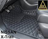 Килимки салону Nissan X-Trail Ніссан Ріг Rogue 3D (2014+) з Екошкіри 3D з текстильними накладками, фото 3