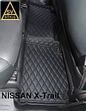 Килимки салону Nissan X-Trail Ніссан Ріг Rogue 3D (2014+) з Екошкіри 3D з текстильними накладками, фото 4