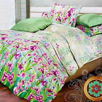 """Комплект постельного белья """"Ирисы"""" Белорусские бязи полуторный белый с зеленым"""