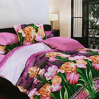 """Комплект постельного белья """"Весенние цветы"""" Белорусские бязи полуторный Сиренево-зеленый"""